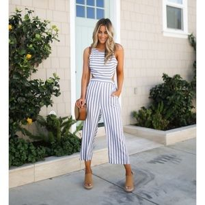 Pants - Blue and white Striped Jumpsuit